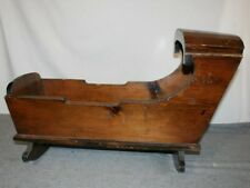 Vintage Handmade Rustic Wood Baby Doll Infant Cradle Rocker Bedside Sleeper Crib