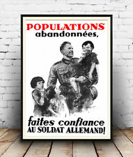 Populations Abandonnees , Vintage German WW2 Poster reproduction.