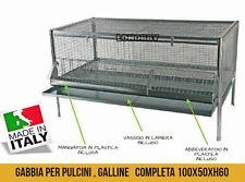 GABBIA COMPLETA PER POLLI GALLINE PULCINI OVAIOLE ORNAMENTALI GALLI 100X50X60h