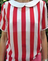 Ladies Red & White Striped Sheer Top Size 8