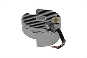Chrome 12 Volt Regulator End Cover with Low Voltage Output for Harley FL XL