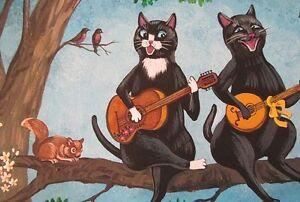 LE #4 4X6 POSTCARD RYTA MUSICAL BLACK TUXEDO CAT SPRING BANJO HUMOR EASTER ART