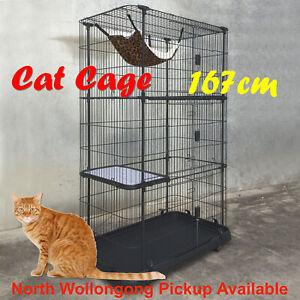 4 Level Storey Boltless Alloy Metal Cat Cage Hamster Enclosure 167x111x61cm