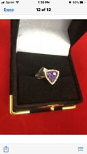 14k. Roze Gold Ladies Ring With Diamonds And Amethyst Stone