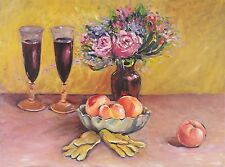 VINTAGE ORIGINAL FLOWERS IN VASE, FRUIT, OIL PAINTING STILL LIFE ON CANVAS 18x24