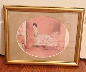 """Louis Icart """"L'Alcove Rose"""" (The Pink Alcove) Print 1929 Matted and Framed"""