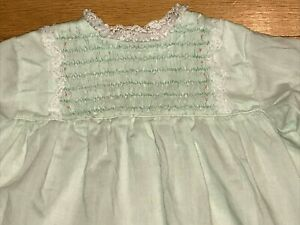 VTG Polly Flinders Smocked Lace Ruffle Long Sleeve Green Dress 24 months