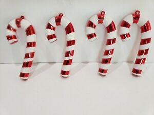 "5.5"" Christmas Holiday Red White Candy Cane Peppermint Ornaments Decor (4)"