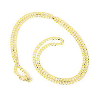 "375 Solid 9ct Yellow Gold Diamond Cut Heavy Curb 2.4mm Link Chain 16"" 18"" 20"""