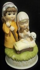 Vtg Porcelain Musical Nativity Lamb Plays Jesus Loves Me Reason for the Season