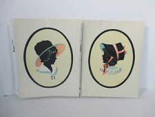 Pictures Silhouette Prints The Toy Tinkers Girls Bonnet Vtg 1941 Tinkertoys 2pcs