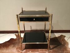 Table de chevet Maison Bagues Année 50 Vintage Side table Brass Glass Black