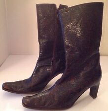 """GUESS Brown Embossed Leather Ankle Boots 3"""" Slim Heel 37.5 Sz 7 Italy VERO CUOIO"""