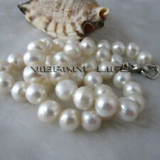 """Freshwater Pearl Necklace Strand Jewelry 18"""" 10-11mm White Aa Heavy Surface"""