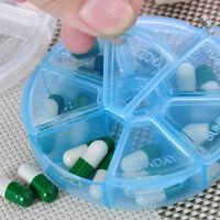Portable Pill Round Box 7 Slot Health Pill Box Case Medicine Drug Organizer Box