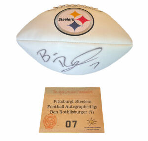 Ben Roethlisberger Autographed Pittsburgh Steelers 3 white panel football