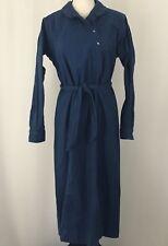 LL Bean Women's Size 14 Blue Sweatshirt Robe Cotton One Piece VTG Long Vintage
