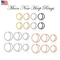 20G Stainless Steel Moon Hoop Nose Ear Lip Tragus Helix Cartilage Ring Stud US