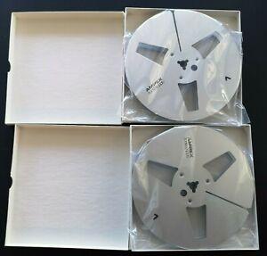 Pair (2) AMPEX - SILVER 7-inch Metal take up reels empty tape reel -Akai REVOX
