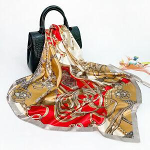 Women Vintage Belt Print Shawl Scarf Imitate Silk Satin Kerchief Hijab 90*90cm