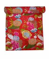 Indian Throw Twin Size Fruit Print Kantha Quilt Boho Bedding Bedspread Comforter
