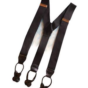 "Mens Braces Black Nylon Leather Tab Button Suspender Gold Hardware Wide 1.5"""