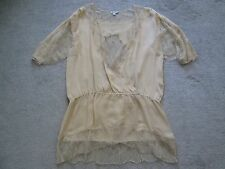 Foley + Corinna Beige Lace Beaded 100% Silk Tunic Lingerie Top Blouse L NWOT