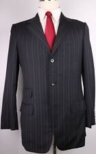 Gucci Tom Ford Gray Stripe Wool Three Button Suit Size 38 R Slim 32 30 Flat