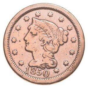 1850 Braided Hair Large Cent - Charles Coin Collection *477