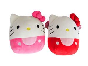 Hello Kitty Squishmallow Lot of 2 Red & White, Pink & White 7 inch Plush Toys