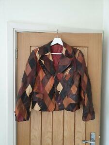 70s leather patchwork jacket coat vtg pennylane 60s hippy boho s  funky cool