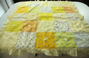 """Vintage 70s Handmade Baby Quilt Lap 39"""" Square Ruffle Gingham Novelty Floral"""