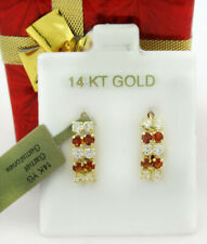 GARNET & WHITE SAPPHIRE EARRINGS 14K YELLOW GOLD * New with Tag *