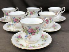 ROYAL ALBERT MOSS  ROSE COFFEE CUPS AND SAUCERS 1st Quality