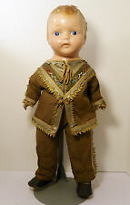 "23"" Antique Paper Mache Composition Shoulder Head Doll- Native American Indian"