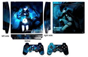 Skin Sticker for PS3 PlayStation 3 Slim and 2 controller skins Black Rock Q213