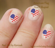 Heart Shaped USA American Flag,  24 Unique Designer Nail Art Stickers