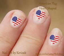 Heart Shaped USA American Flag,  24 Unique Designer Nail Art Stickers