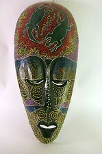 Large Indonesian Wood Mask Hand Carved Painted Tribal