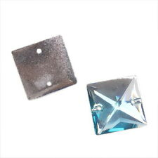 25x Crystal Cyan Square Sew-on Charms Resin Flatback Beads Buttons 22mm 24077