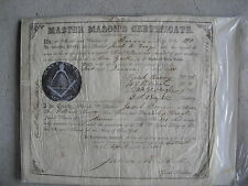 RARE Original 1855 Master Mason's Certificate Munn Lodge New York