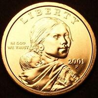 2001 P Sacagawea Dollar ~ With Eagle in Flight Reverse ~ BU from U.S. Mint Roll