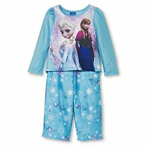 Disney Frozen Princesses Anna and Elsa Blue Pajama for Toddlers, Size 4T