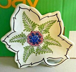 Delft-Oval Bowl Trinket Dish-Pierced Leaf-Hand Painted-Centre Flower-Vintage