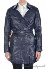 GOLD BUNNY Solid Blue Calf Leather Womens Luxury Jacket Coat RARE - MEDIUM