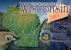 Wisconsin State Map, Madison, Milwaukee, Green Bay, Badger, WI, Seal -- Postcard