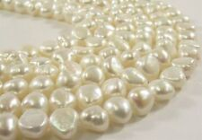 7-8mm Natural White High Luster Rice Nugget Genuine Freshwater Pearl Beads(#570)