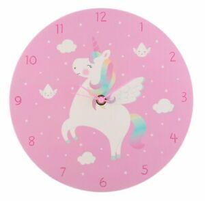 Pink Unicorn Wall Clock Childrens Kids Bedroom Rainbow Playroom Nursery Gift