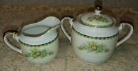 Fine China Japan Creamer & Sugar Bowl Green Black Art Deco Band Floral Sprays EX