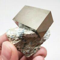 Rare Rectangular Pyrite Crystal on Matrix, Navajún, Spain, 2.8cm x 1.9cm x 1.3cm